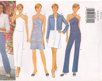 1997 - Butterick 5049 Sewing Pattern Sizes 6/8/10/12 Fast Easy Jacket Dress Top Skirt Pants Petite Loose Unlined Close Fitting A Line