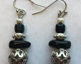 Black-Silver Drop Earrings