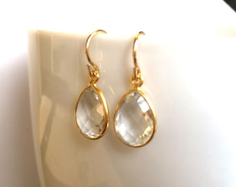 Crystal Gold Earrings, Bridesmaid, Wedding Jewelry, Gold Filled Wires, Hydro Quartz Crystal Clear Drop Earrings