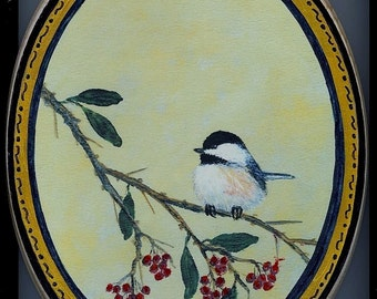 Oval Wood Chickadee Plaque - Chickadee on Red Berry Branch - Bird 2