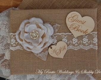 Rustic Wedding Guest Book Burlap Wedding Guestbook Lace
