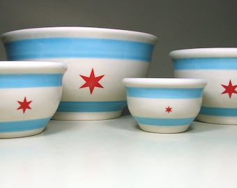 a handcrafted statement mixing or serving bowl set with the Chicago Flag design. Made to Order.