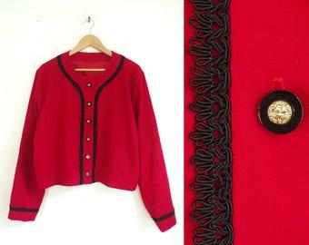 80s wool cropped jacket macrame trim jacket handmade lightweight wool blazer with lion buttons red wool jacket womens jacket xl