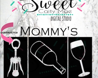 Mommy's Hand Spinner / Cut File / Wine Lover / Cork Screw / Cameo Projects / Cricut Projects / Silhouette Projects / SVG / T-Shirt design /