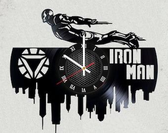 Avengers infinity war Iron Man gift 12 in / 30 cm vinyl record clock Marvel Gifts for kids gifts for boys marvel art iron man gift for girls