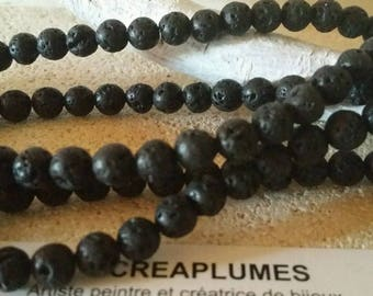 Set of 20 black 10mm natural lava stone beads