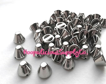 25pc 12mm Cropped Acrylic Cone Studs. You Choose Finish: Gun Metal, Gold, Brass, Silver. FAST Shipping from USA with Tracking for US Buyers.