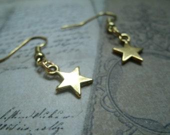 Earrings in  gold metal - Little stars