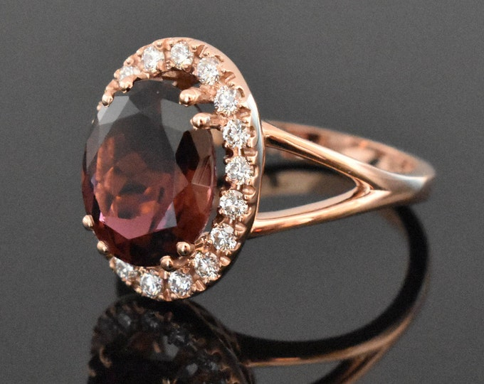 14K Rose Gold Tourmaline and Diamond Ring | Engagement Ring | Wedding Ring | Diamond Halo | Anniversary Ring | Handmade Fine Jewelry