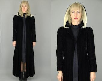 1920s Black Velvet with Rabbit Fur Hooded Trench Duster Opera Coat Jacket