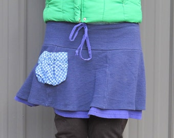 Deep Periwinkle Blue Organic Merino Wool Knit Booty Warmer Pocket Skirt Size 14 - 16