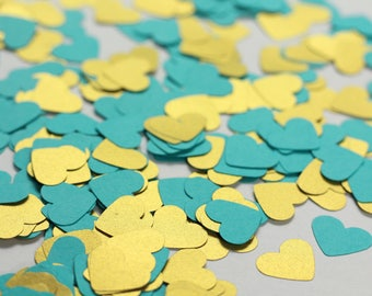 Turquoise Confetti - Turquoise and Gold Heart Confetti - Turquoise Wedding Confetti - Turquoise Baby Shower Decorations