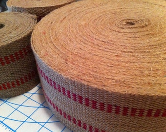 """Jute webbing with red - 3.5"""" wide by 4 yards long"""