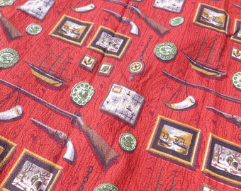 Barkcloth Fabric Curtain Panels Destash Yardage Cutter Remnants Repurpose Upcycle Early American Colonial Print