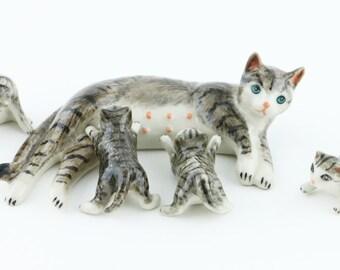 Miniature Animal Figurine - Miniature Striped  Black Cat - Ceramic Hand Painted