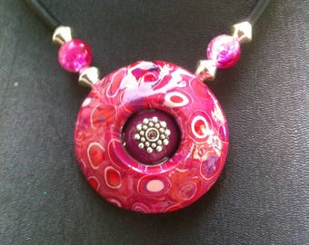 Mosaic pendant with pink and plum