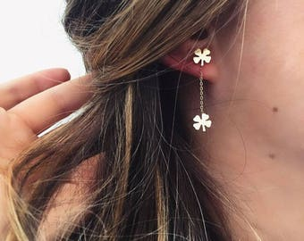 14K Gold Clover Earrings/Hand-made Gold Clover Earrings / Gold Earrings Available in 14k Gold, White Gold or Rose Gold