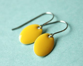 Small Yellow Oval Enameled Earrings - Silver - Surgical Steel French or Kidney Earwires