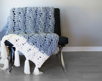 "DIY Crochet PATTERN - Reversible Cable Throw Blanket / Rug 49"" x 72"" (2015022)"