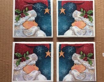 Christmas Tile Coaster Set  | Rustic Tile Coasters |  Christmas Drink Coaster Set | Christmas Tile Coasters