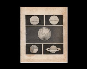 RARE! c. 1875 THE PLANETS prints - antique astronomy print - solar system print - galaxy print - Saturn print - Jupiter, Mars, Neptune