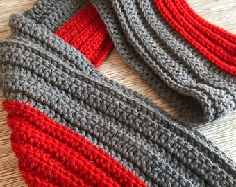 Grey and Red crochet scarf