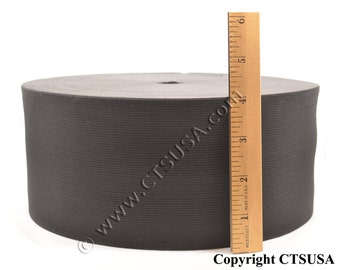 4 Inches Wide Black Knitted Elastic - 50 Yards Roll - Black