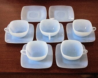 5 Sets Fire King CHARM Azurite Blue Cups and Saucers plus 2 Extra Saucers