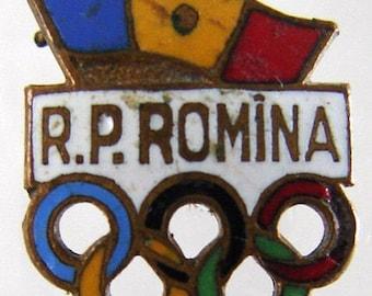 ROMANIA OLYMPIC BADGE pre 1964 Romanian Olympic committee undated Lapel enamel pin badge