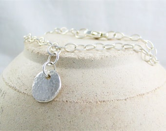 Sterling Silver Sparkly Hammered Pebble Charm Bracelet 7 1/2 Inches - Designed And Handmade by CMcB Jewellery UK
