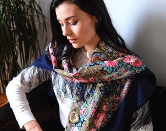 Russian scarf 146 cm fine wool fringe authentic Pavlovski Possad Russian shawl floral pattern, ethnic scarf, bohemian style shawl