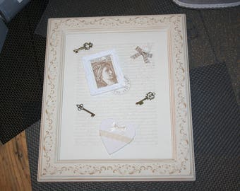 frame limed white ivory heart shabby keys of happiness