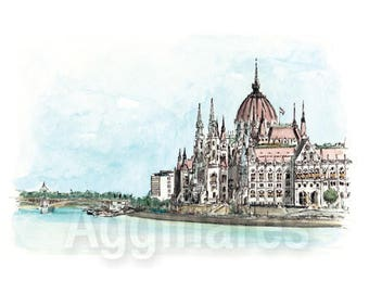 Budapest Hungary / art print from an original watercolor painting
