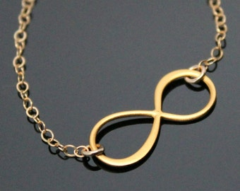 INFINITY Necklace, Gold Filled and Vermeil, Love Friendship Necklace