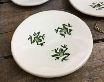 Frog Ring Dish Turquoise Frog Ring Bowl Dancing green Frog Tea Bag Holder & Frog dish | Etsy