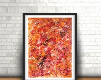 "Abstract red wall art, Red abstract, Abstract for him, Red painting, Mix & match, Small wall painting, Original abstract, ""Spilled wine"""