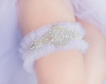 Wedding Garter Belt- White tulle, rhinestones, Princess bride, gift for the bride, Bridal shower gift, Lingerie, Honeymoon, Garter toss