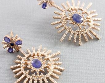 Pave Diamond Earrings, Pave Diamond and Blue Sapphire Stardurst Earrings, Pave Diamond Drop Earrings, Blue Sapphire Earrings (DER-125)
