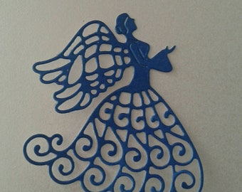 Angel - intricate die cut - pearl finish cardstock - approx 70mm x 65mm - DC042
