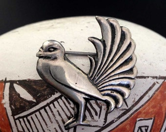 Vintage Mexican Sterling Silver Bird Pin Brooch | Mexico Fancy Bird Feathers | Mexican Silver Pin 925 | Silver Vintage Bird Brooch