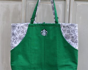 Upcycled Starbucks Tote, Medium Tote, Cafe/Market/Pool/Beach Bag, Eco-Friendly Bag, Green Canvas Tote, Green Apron Bag, Carry-All