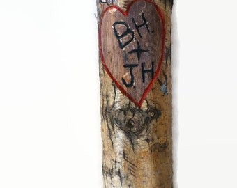 Initials and heart carved into a tree log slice, heart carved tree, gift for wife, Mother's Day gift, wedding gift, anniversary gift
