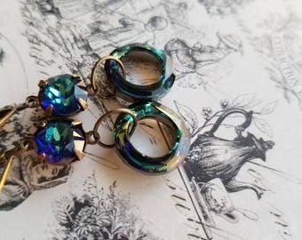 Crystal drop fashion earrings swarovski crystal earrings cosmic ring earrings womens gifts mothers day gifts fashion jewelry brass earrings