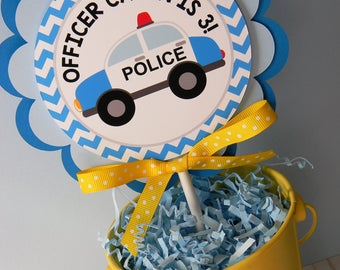 Police Cake Topper, Police Smash Cake Topper, Police First Birthday, Police Party Decorations, Police Birthday Party