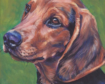 Schillerstovare Dog art print CANVAS print of LA Shepard painting 8x8