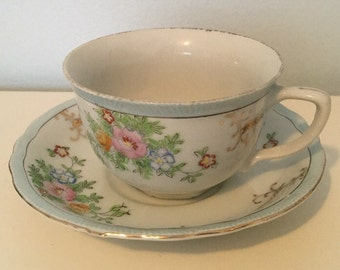 Vintage Japanese China Floral Powder Blue and Gold Teacup and Saucer
