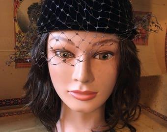 Brown velvet halo hat