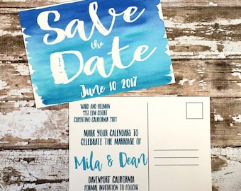 Save the date postcards, set of 10 printed handmade wedding cards, turquoise blue watercolor save the dates, simple beach wedding invites