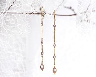 Blush pearl earrings, Purple pearl earrings, Dangly earrings, Gold earrings, Pearl earrings Handmade earring Dangle earring Long earring 635
