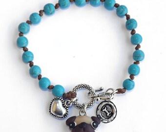 Pug dog bracelet turquoise stone